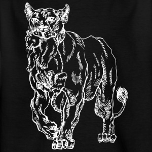 mother lion with baby lion white - Kids' T-Shirt