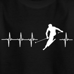 I love skiing (ski heartbeat) - Kids' T-Shirt