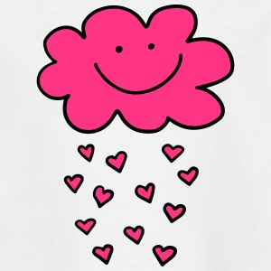 Funny cloud hearts, Valentine's Day, Love, smile - Teenage T-shirt
