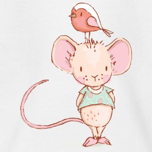 Mouse with bird - Teenage T-shirt
