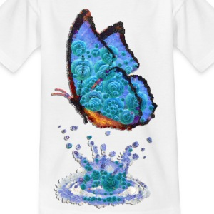 butterfly, blue, water, drops, reflection, butterfly - Teenage T-shirt