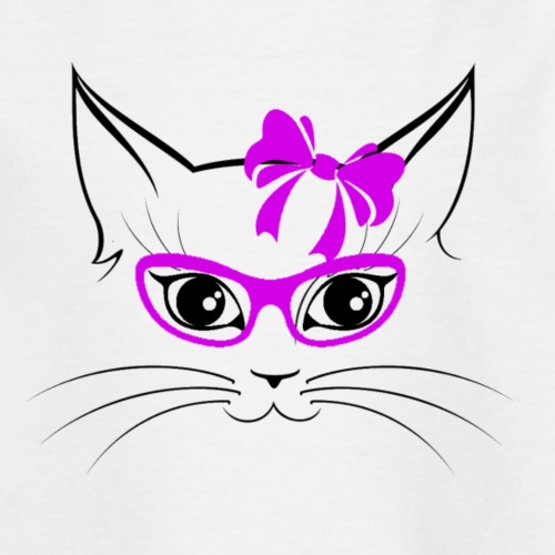 Kat met bril en strik - Teenager T-shirt