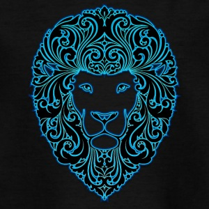lion med ornament hår 2 sorte neon - Teenager-T-shirt