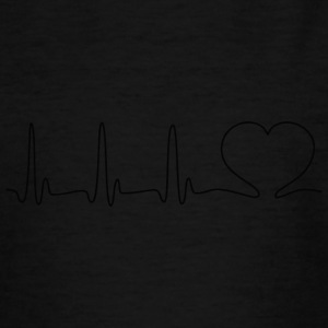 ECG HEART LINE black - Teenage T-shirt