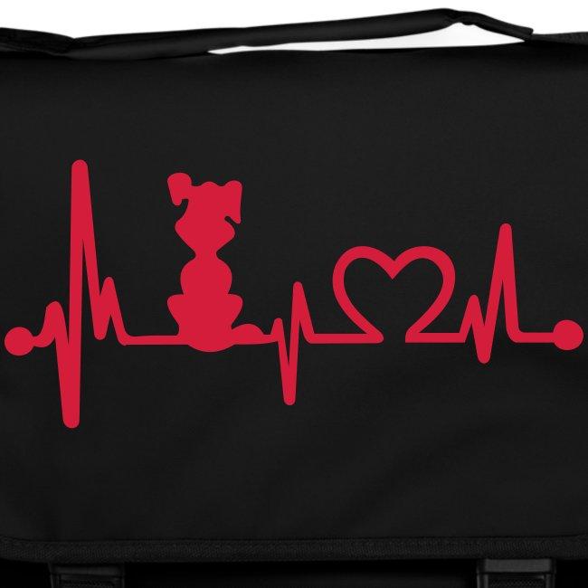 Vorschau: dog heart beat - Umhängetasche