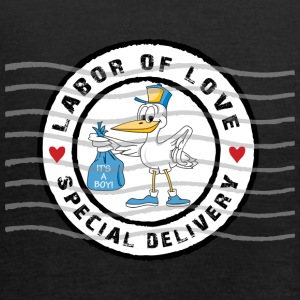Pregnant Stork Delivery Baby Boy - Women's Tank Top by Bella