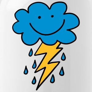 Funny cloud with flash, raindrops, comic, emoji - Water Bottle
