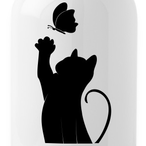 Cat with butterfly - Water Bottle