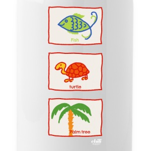 Fish, turtle, palm tree: vacation beach leisure - Water Bottle