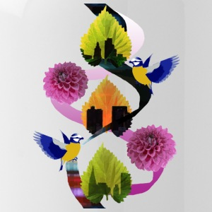 Leaves Floral Bird City - Water Bottle