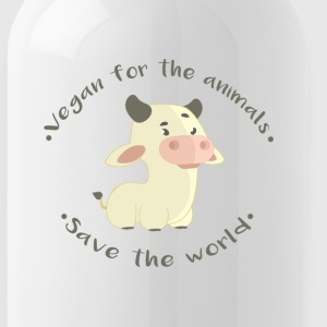 Vegan for the animals -Save the world - Cantimplora