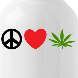 Peace Love Marijuana Cannabis Weed Pot - Vattenflaska