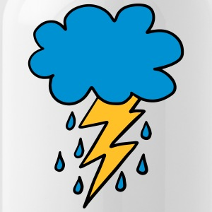 Cloud, flash, raindrop, weather, spring, rain, fun - Water Bottle