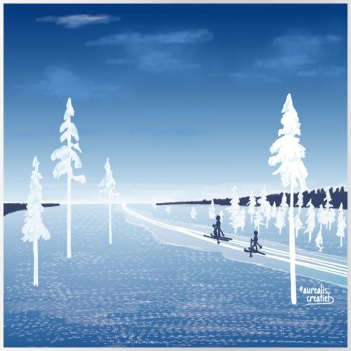 Nuit polaire bleue - Gourde avec paille intégrée