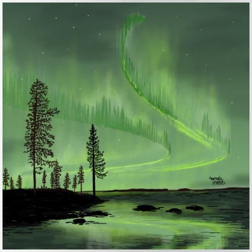 Réflexion des aurores boréales - Gourde avec paille intégrée