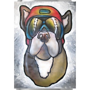Bulldog with sunglasses and helmet - Water Bottle