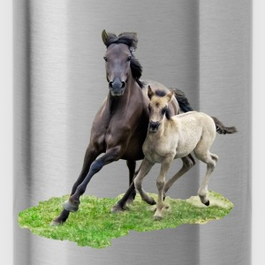 Dülmener Wild Horse mare with foal gallops - Water Bottle