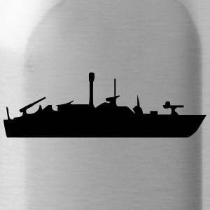 Vector Navy warship Silhouette - Water Bottle