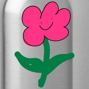 smiling pink flower - Water Bottle