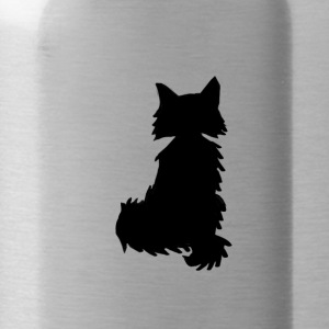 Fox silhouette black and white - Water Bottle