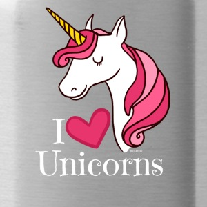 I Love Unicorns T Shirt - Heart Tee in White - Water Bottle