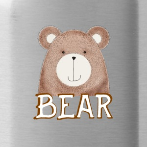 Bear cute brown face bearded cuddly animal il - Water Bottle
