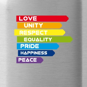 gay Love Unity Respekt Pride Peace happiness csd l - Trinkflasche