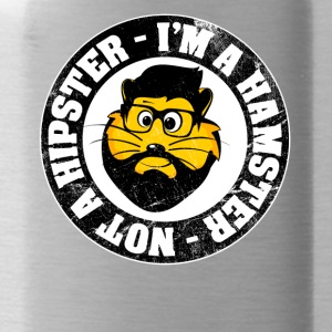 """I'm a hamster and not a hipster!"" Vintage - Water Bottle"