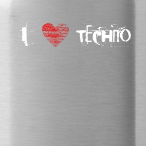 I love techno rave goa hardtek hardstyle - Water Bottle