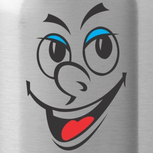 Cartoon laughing face - Water Bottle