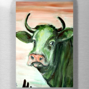 green cow portrait acrylic painting expressionistic - Water Bottle