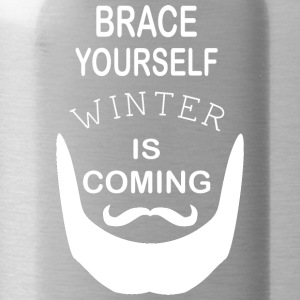 Brace Yourself Winter is Coming with beard - White - Water Bottle