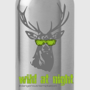 "Deer with sunglasses ""wild at night"" - Water Bottle"