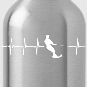 Water skiing, heartbeat design - Water Bottle
