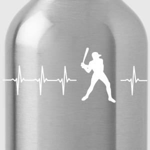 I love baseball (baseball heartbeat) - Water Bottle