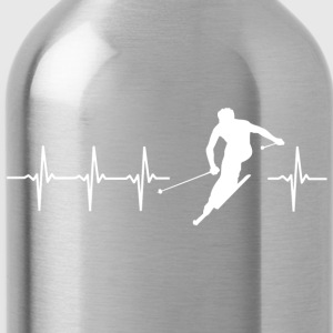 I love skiing (ski heartbeat) - Water Bottle