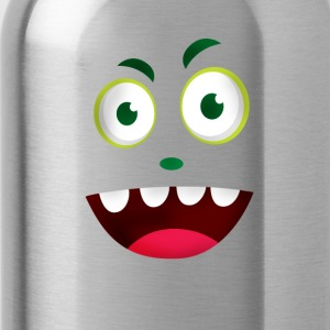 face face green vegan laugh mouth happy fancy - Water Bottle
