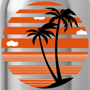 Palm trees vacation sea beach 04 AllroundDesigns - Water Bottle