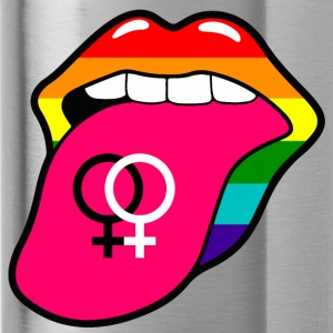 Rainbow mouth and tongue with women symbol - Water Bottle