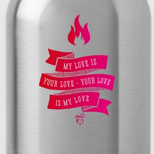 love liebe Feuer Retro Vintage Flame pink band - Trinkflasche