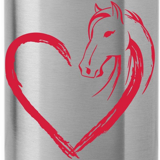 Vorschau: Pferde Herz - Trinkflasche mit integriertem Trinkhalm