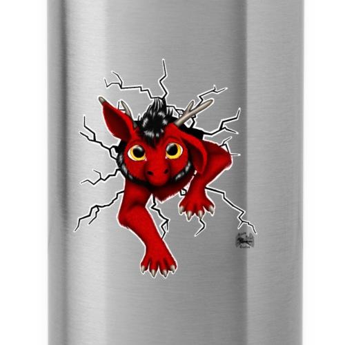 Drachi stuck red schwarzl - Trinkflasche mit integriertem Trinkhalm
