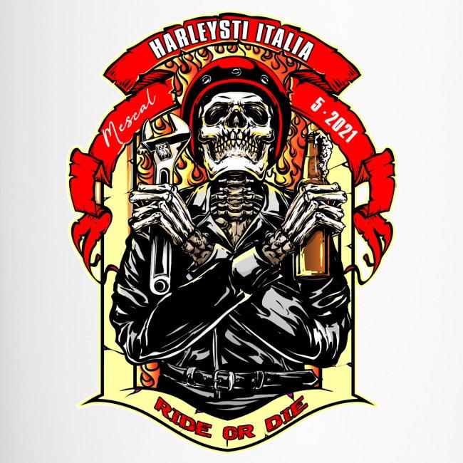Teschio con casco, birra e chiave inglese