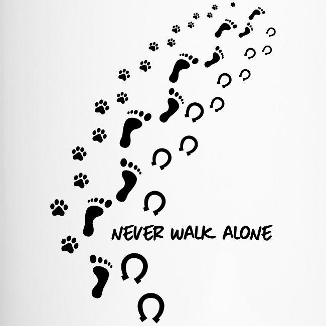 Vorschau: never walk alone hund pferd - Thermobecher mit Tragegriff