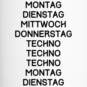TECHNO T-Shirt - Mittwoch, Donnerstag, Techno... - Thermobecher