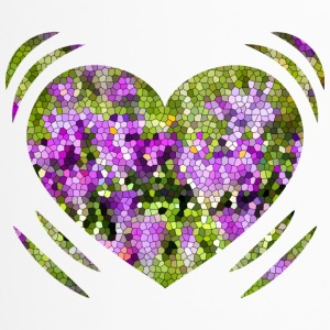 Heart Green Purple Mosaic - Travel Mug