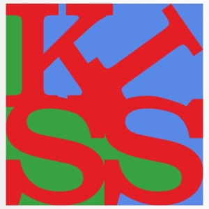 kiss homage to Robert Indiana Kiss bunt - Thermobecher