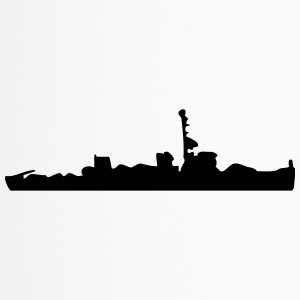Vector Navy warship Silhouette - Travel Mug