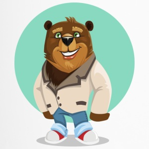 Cute bear in jeans and laughs - Travel Mug