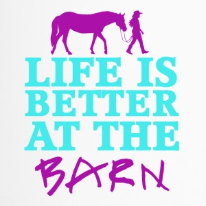 Life Is Better At The Barn - Girl with a horse - F - Thermobecher